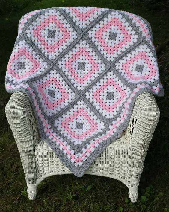 Pink and Grey Granny Square Baby Blanket by ThelmasGifts on Etsy: