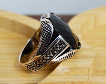 Mens Handmade Ring, Turkish Handmade Silver Men Ring, Ottoman Mens Ring, Onyx Men Ring, Gift for Him, 925k Sterling Silver Ring
