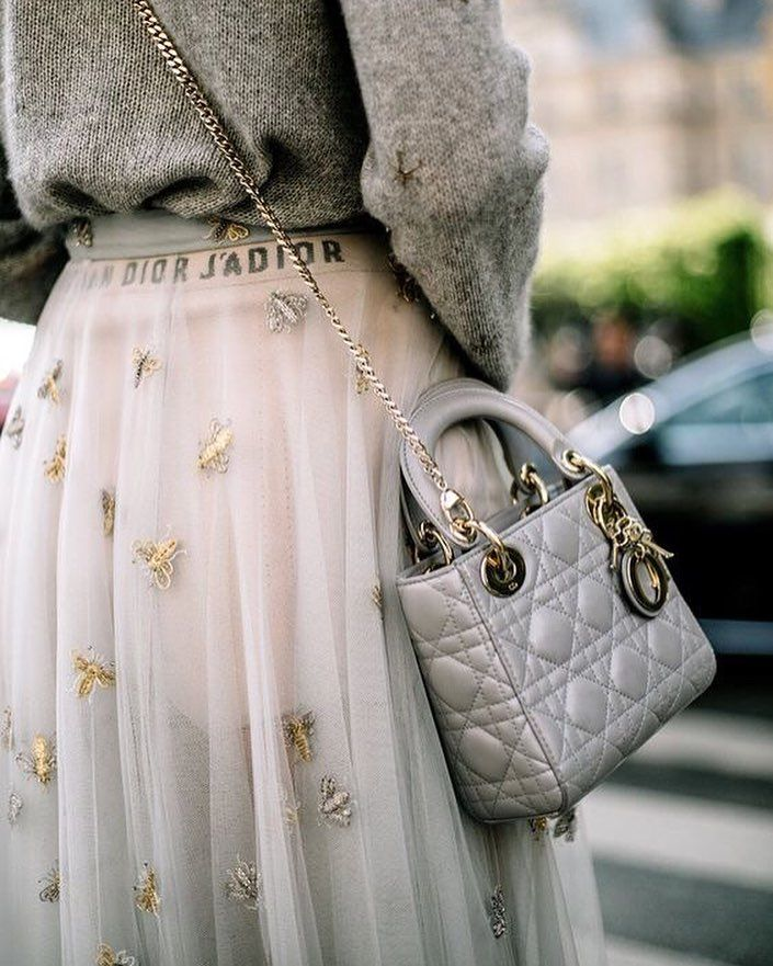 Dior, embellished skirt, romantic style, casual skirt style, dior lady bag, sweatshirt with skirt, sweatshirt outfit idea