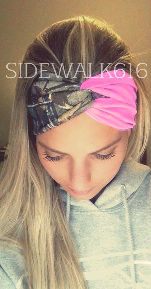 Light Pink and Camo Turban Style Headband by Sidewalk616 on Etsy