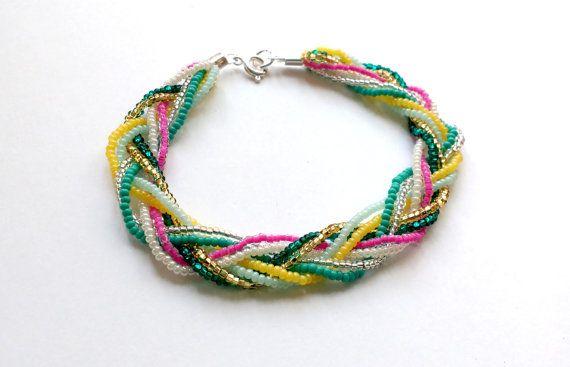 Multicolor di perline bracciale arcobaleno braccialetto, Bracciale intrecciato, scintillante bracciale, braccialetto della perla di seme, braccialetto di perline, damigella d