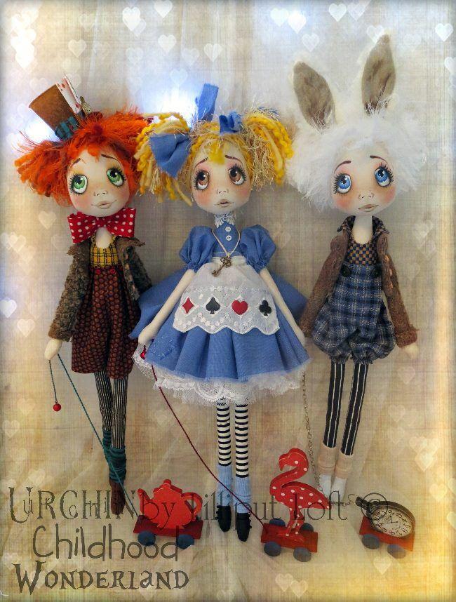 Master Hatter, Miss Alice & Rabbit...Urchin Art Doll by Vicki at Lilliput Loft