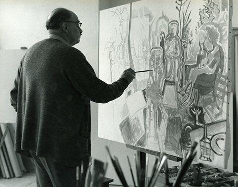 Ο Νίκος Χατζηκυριάκος-Γκίκας ζωγραφίζει στην Ύδρα