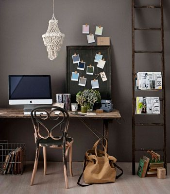 Ladder as a magazine rack: Workspace, Offices Spaces, Wall Color, Offices Color, Ladder Decor, Work Spaces, Offices Ideas, Magazines Racks, Home Offices