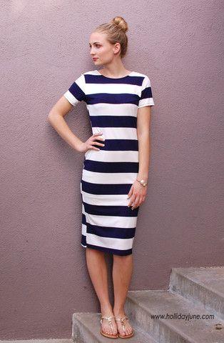 Nautical Stripes Midi Dress