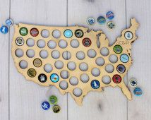 Beer Lover Gift, Personalized Bottle Cap Map, Beer Cap Map, Beer Gift for Couple, Wedding Gift, Initials, Beer Art, Wood --MAP-BCH-18X11