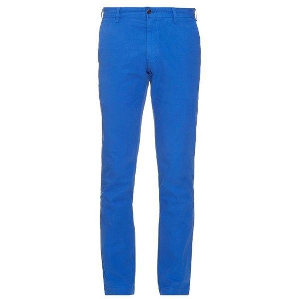 Polo Ralph Lauren Slim-leg cotton chino trousers ($67) ❤ liked on Polyvore featuring men's fashion, men's clothing, men's pants, men's casual pants, blue, mens chinos pants, mens chino pants, mens blue pants and mens blue chino pants