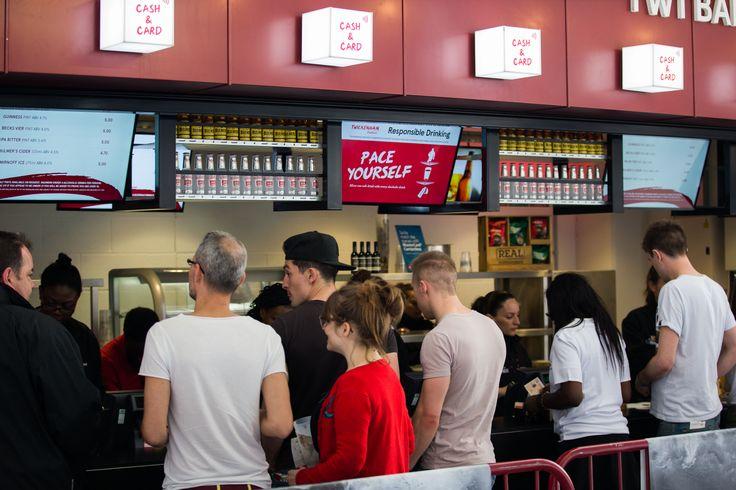 The bar is always busy on match days here at Twickenham Stadium