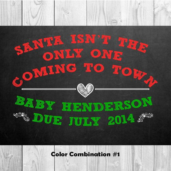 Christmas Pregnancy Announcement Chalkboard 14x11 by MMasonDesigns, $15.00