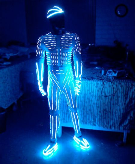 Tron meets Daft Punk! Blinkies and some El Wire can go a long way! http://www.flashingblinkylights.com/light-up-products/craft-lights/blinkies-round-leds.html