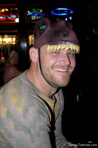 T-Rex smiles for the camera at JJ's Cafe and Bar during Guavaween 2012.