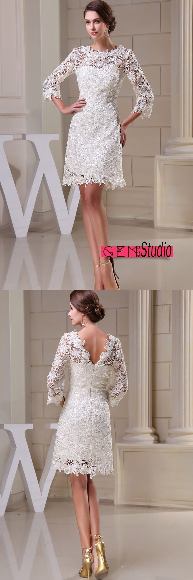 159 90 Lace Short Wedding Dresses With Sleeves For Reception A Line High Neck Style Op5041 158 4 Gemgrace Com Short Lace Wedding Dress Short Wedding Dress Short Bridal Dress [ 2000 x 666 Pixel ]