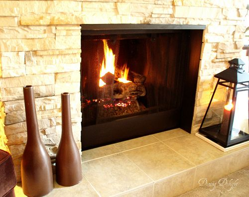 Fireplace Makeover Covering Brick With Stone Facade