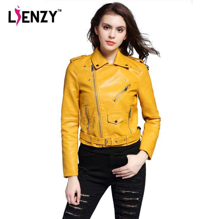 Lienzy za秋冬女性puレザージャケット長袖エポーレットターンダウン襟黄色ショート女性のジャケットコート冬用