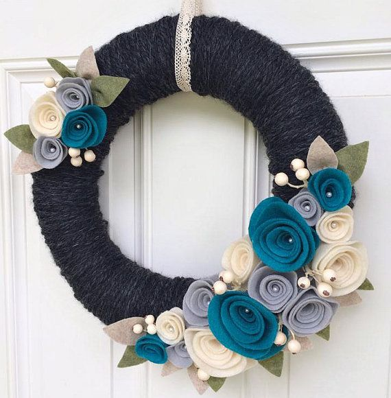 Front Door Wreath Yarn Wreath Felt Flower by TheVioletteBloom