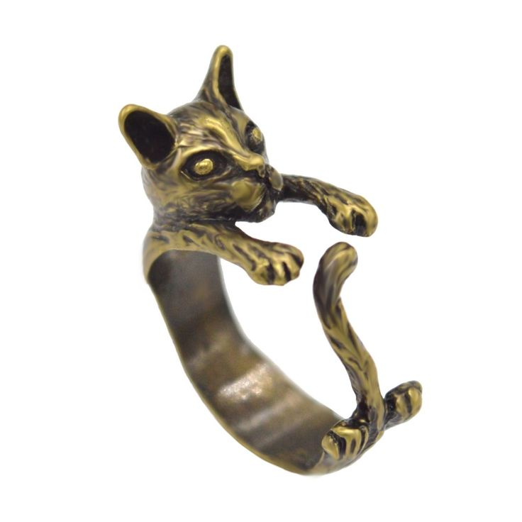Vintage Handmade 3D Animal Cat Ring Women Adjustable Anillos Bague Bronze Jewelry Kitty Cat Rings For Girls Accessories