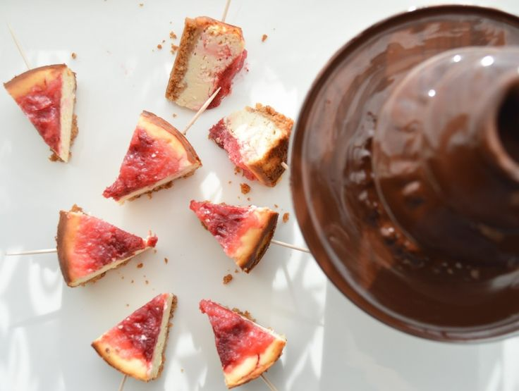 Cheesecake bites with mini chocolate fountain for two -Valentin's day idea