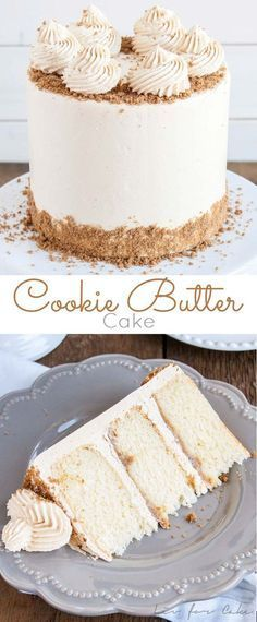 This Cookie Butter Cake pairs fluffy vanilla cake with a sweet cookie butter frosting and crushed speculoos cookies for some added crunch.   http://livforcake.com