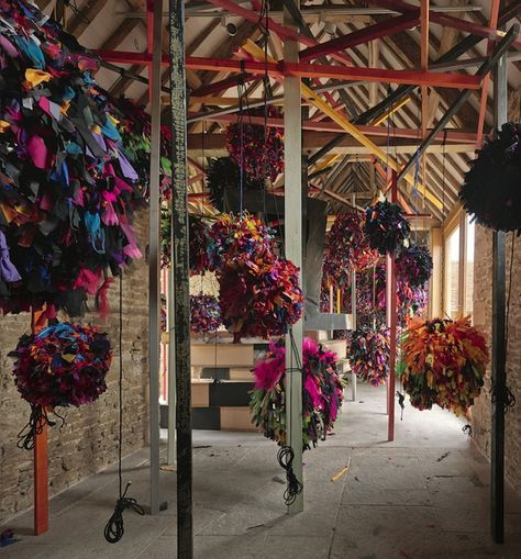 Phyllida Barlow: untitled: GIG 2014, Fabric, paper, cord, timber, paint, polyurethane foam, plaster, wool, steel, tape Approx. overall installed dimensions: 118 1/8 x 196 7/8 x 551 1/8 in / 300 x 500 x 1400 cm Installation view, 'Phyllida Barlow. GIG', Hauser & Wirth Somerset, 2014 © Phyllida Barlow Courtesy the artist and Hauser & Wirth Photo: Alex Delfanne
