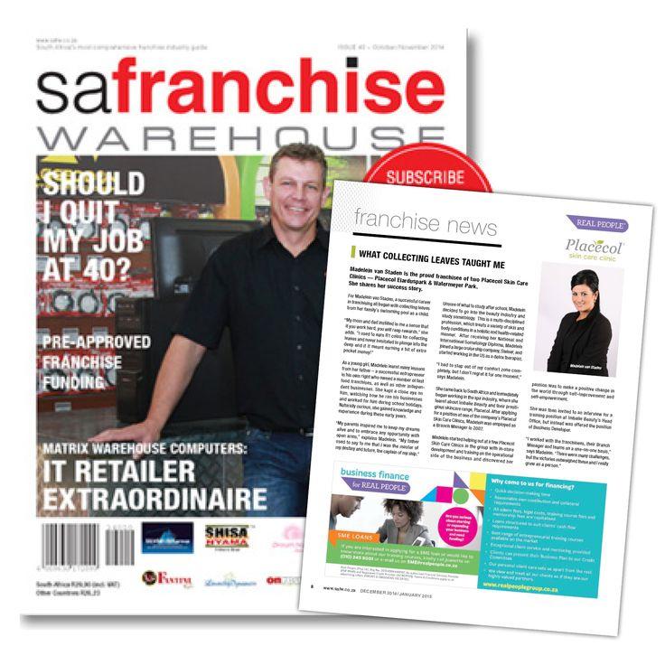 Elarduspark and Watermeyer Park franchisee , Madelein van Staden shares her success story in SA Franchise Warehouse Magazine #FreshExposure #FreshBeginings
