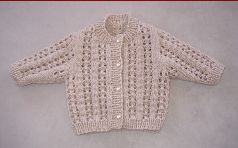 Knitting pattern for a gorgeous, 8ply lace cardigan for baby.