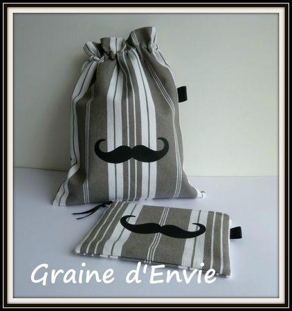 pochette et pochon toile à matelas moustache