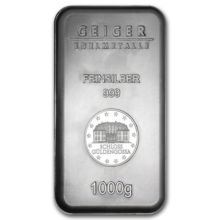 1 Kilo Silver Bar Geiger Security Line Series 1000 Gram