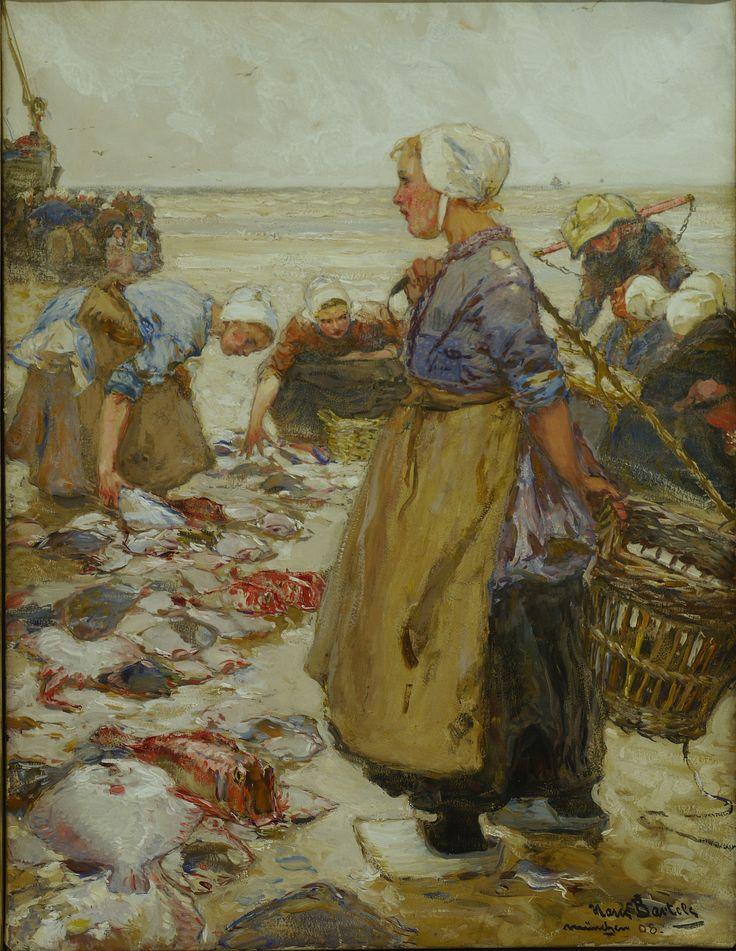 """""""Fish Sale on a Dutch Beach"""", 1908 Hans von Bartels, 1856-1913"""