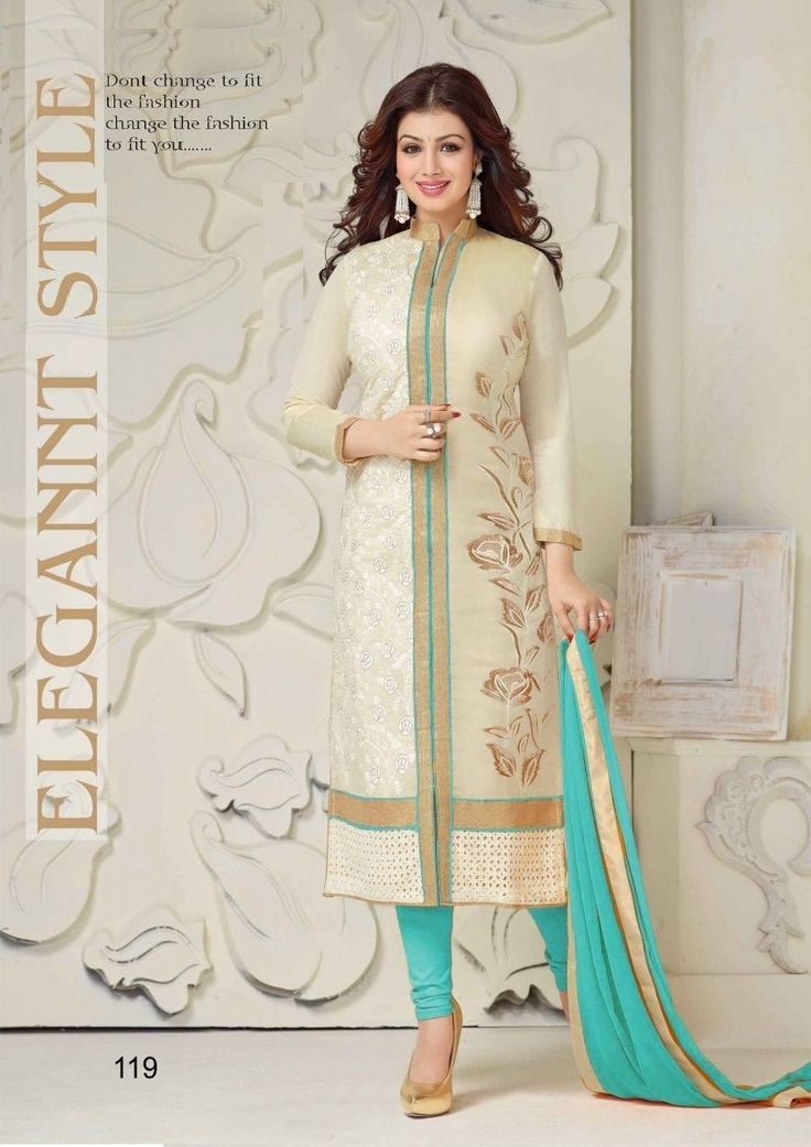 Ayesha Takia Turquoise And Cream Colored Embroidered Straight Suit