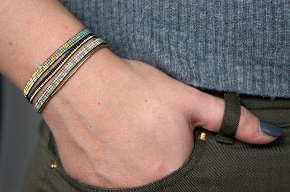Miyuki beaded bracelet handmade with 24 carat gold by YRSarmcandy
