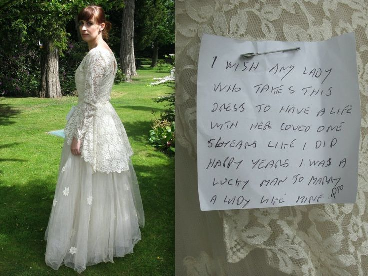 A charity shop in England received a vintage wedding dress in early June that at first glance seemed like an ordinary donation. The lace 1950s gown would have been just one of many that St. Gemma's Hospice Charity Shops receives daily except for the sweet handwritten note attached to the dress, first spotted by Mashable.
