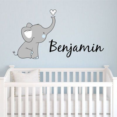 Cute Elephant Name Personalized Fabric Repositionable Wall Decal Decor Designs Decals