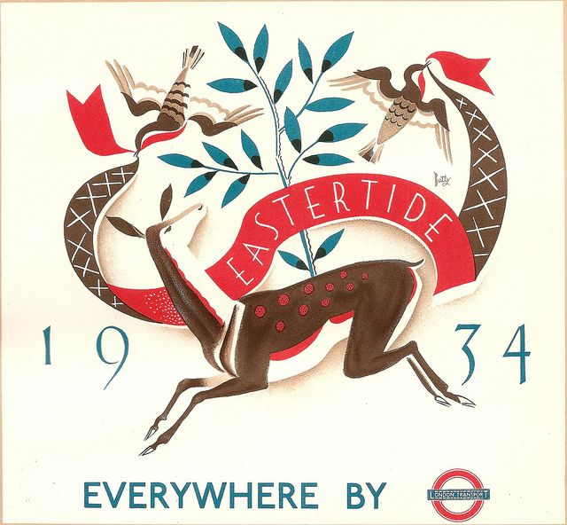 Eastertide 1934 - Everywhere by London Transport - illustrated by D M Batty, 1934    Dora Batty did many posters and car cards for London Transport in the 1920s and '30s. This car panel, rather than a poster, was one of a series that LT issued for many years for the major holiday periods - here is Easter 1934.