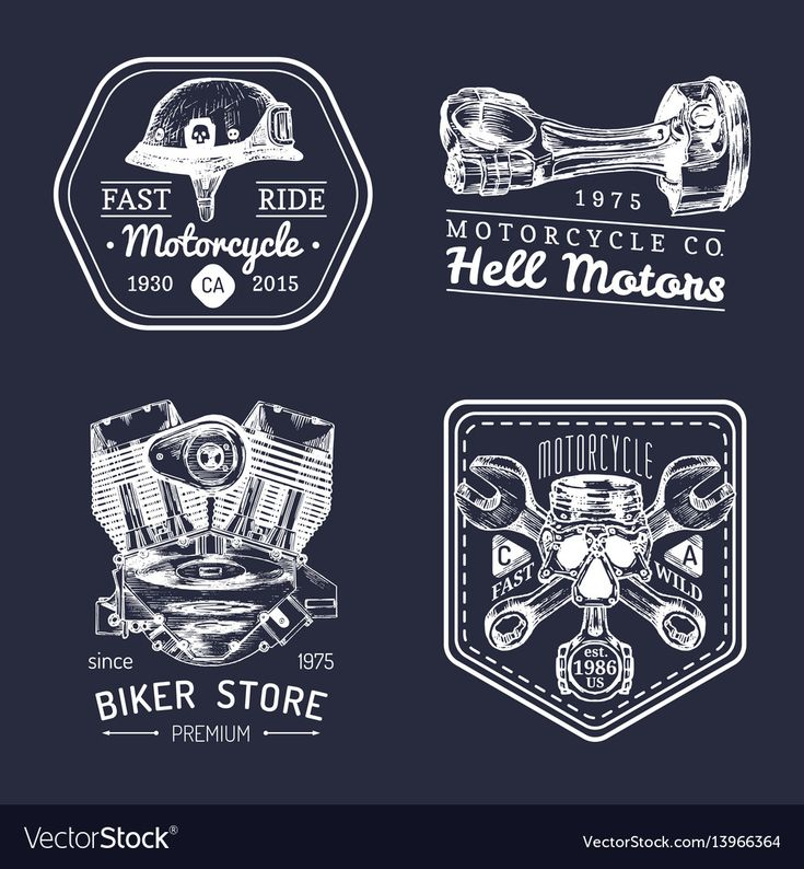 Vector vintage biker club signs. Motorcycle repair logos set. Retro hand sketched garage labels. Custom chopper store emblems. Download a Free Preview or High Quality Adobe Illustrator Ai, EPS, PDF and High Resolution JPEG versions.