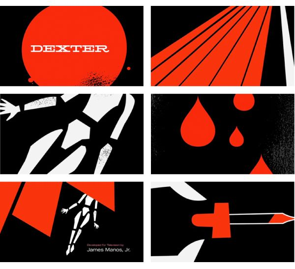 """Very cool... inspired by Saul Bass.  """"Designer Ty Mattson recently turned his popular Dexter posters into an alternative animated title sequence for the show, just for the sake of creativity."""""""