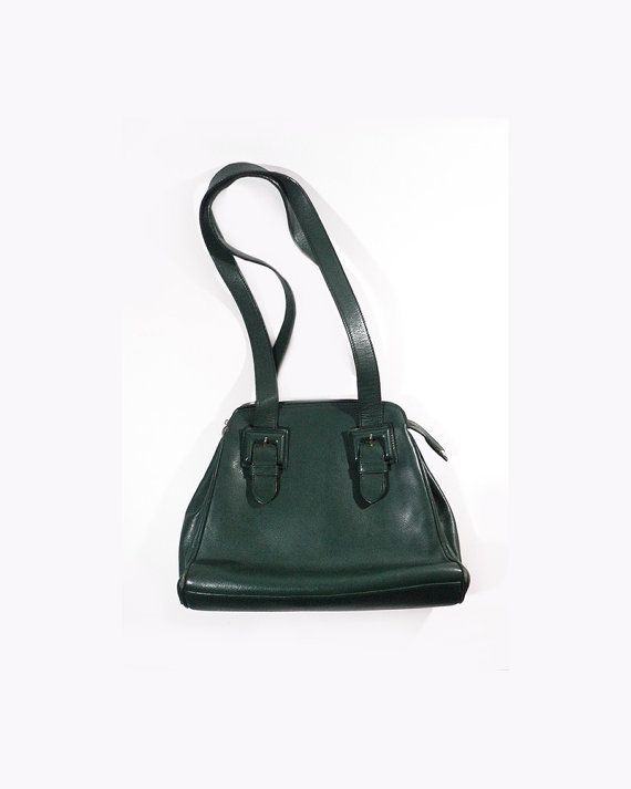 French Green Leather Handbag Renouard Paris by LaBelleEpoqueDeco
