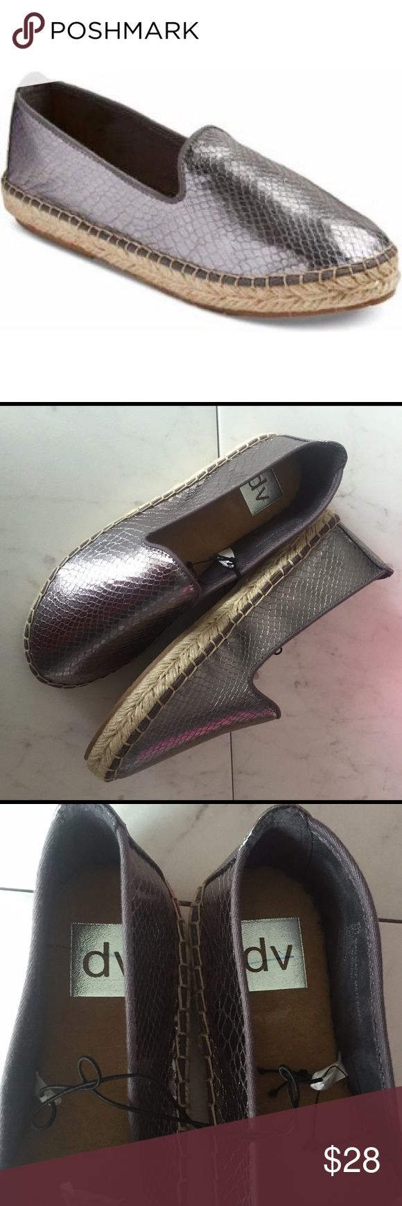 DV • Silver Espadrilles NWT! Silver espadrilles  from DV. Never worn, mark on label on inside sole. No other flaws. No stains or holes. No trades. DV by Dolce Vita Shoes Espadrilles