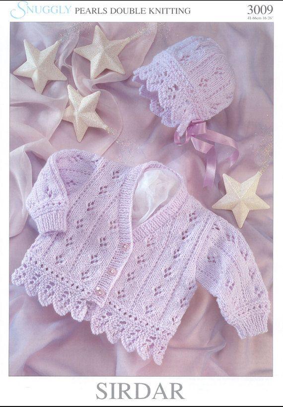 Vintage PDF BABY Knitting Pattern - Sirdar 3009 - cardigan matinee coat bonnet