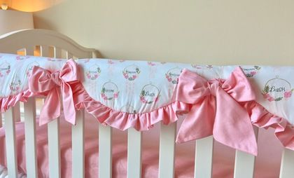 White, Candy Pink, and Dreamcatcher Bumperless Crib Bedding