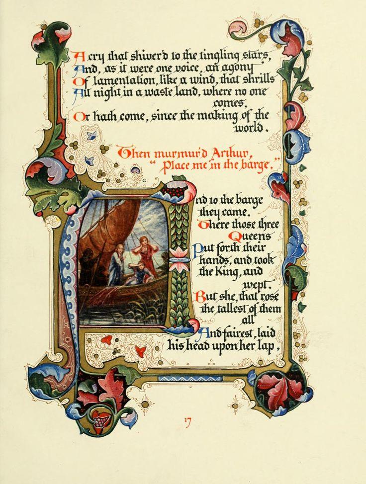 Three Queens from Alberto Sangorski's illuminated manuscript of Tennyson's Morte d'Arthur