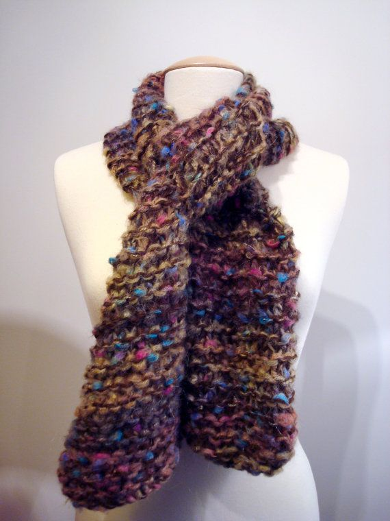 Handmade knitted chunky, warm, soft, multicolored, scarf for casual everyday outfits.