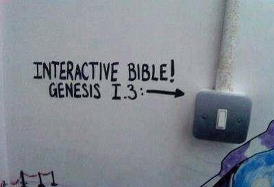 Interactive Bible: Genesis 1:3Genesis 13, Lights Bill, Toilets Humour, Cutefunni Things, Funny Boards, Bible Genesis, Toilets Graffiti, Biblia Interactiva, Interactive Bible