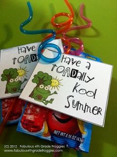"Cute end of year gift for your students. Add a free scholastic book to jump-start summer reading. Thanks ""Classroom DIY""!"