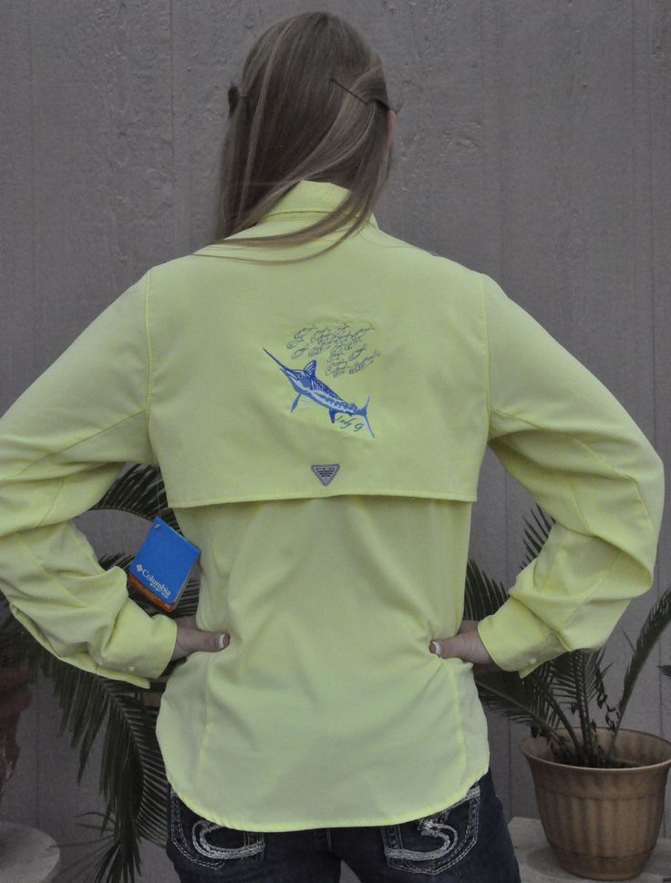 lady g fishing women u0026 39 s fishing shirt embroidered with marlin and school of fish