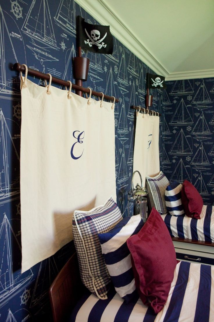 Room Of The Day: Fun Wallpaper, Monogrammed Headboard Idea, Stripes.minus  Pirate Paraphernalia A Boys Room!
