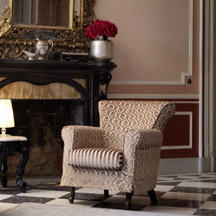 Classy Armchair The pattern of this armchair makes it a great asset to your living room. It matches with many different colours and styles and it gives a special warm flair to any room.