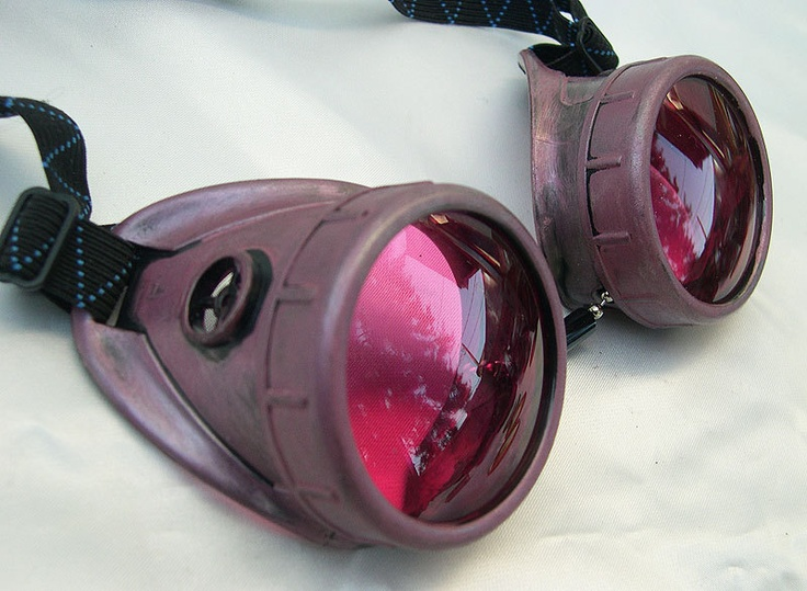 Distressed Rose Amethyst Vintage-Look STEAMPUNK Cyber Welding Goggles. $32.50, via Etsy.