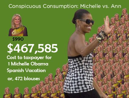 This graphic pretty much says it all.  I got this from Legal Insurrection.  By the way, Michelle Obama has the WORST style of anyone I have ever seen - certainly the worst style of any First Lady this country has ever had.  Liberals are raging hypocrites - this person can jet set like Eurotrash all day long, yet god forbid Ann Romney wear a designer blouse.  Bullshit.