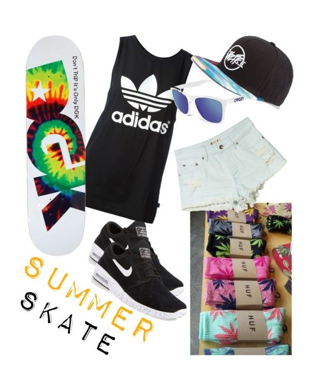 Summer Skater by kingsoflea on Polyvore featuring polyvore fashion style adidas Roxy Oakley NIKE Neff DGK clothing