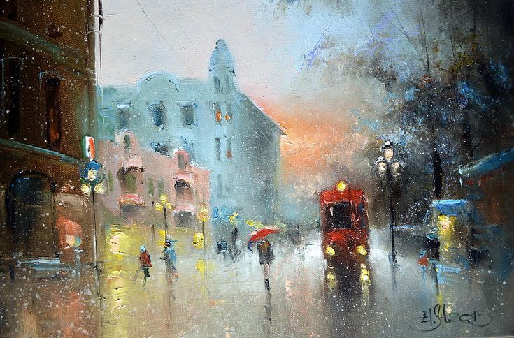 Russian Artists New Wave Painting - Evening Arbat by Igor Medvedev…